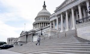 Democratic Senator from West Virginia Joe Manchin walks up the East Front steps of the Senate yesterday.