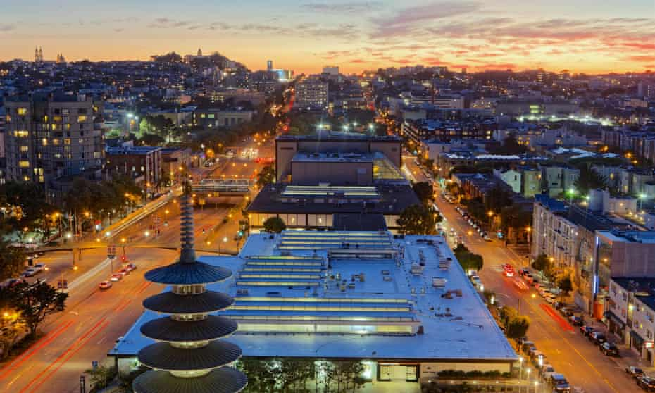 Aerial view of Japantown, San Francisco at sunset as streetlights are turned on. USA.
