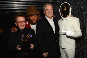 Paul Williams, Pharrell Williams, Giorgio Moroder and Guy-Manuel de Homem-Christo of Daft Punkin 2014