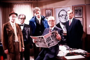 Hardy with Richard Kane, Geoffrey Hutchings and John Gordon Sinclair in the LWT comedy Hot Metal (1986-88), which followed the fortunes of a hapless national newspaper.
