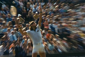 An abstract view as Bjorn Borg serves in 1977