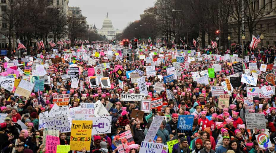 Hundreds of thousands march down Pennsylvania Avenue during the Women's March in Washington in 2017.