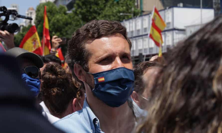 Pablo Casado at the demonstration in the Plaza de Colon in Madrid, Spain, 13 June.