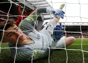 Chelsea's Kepa Arrizabalaga reacts after Liverpool's Sadio Mane scores their first goal as The Reds win 2-0 at Anfield.