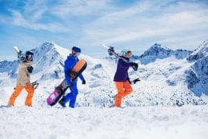 four skiers