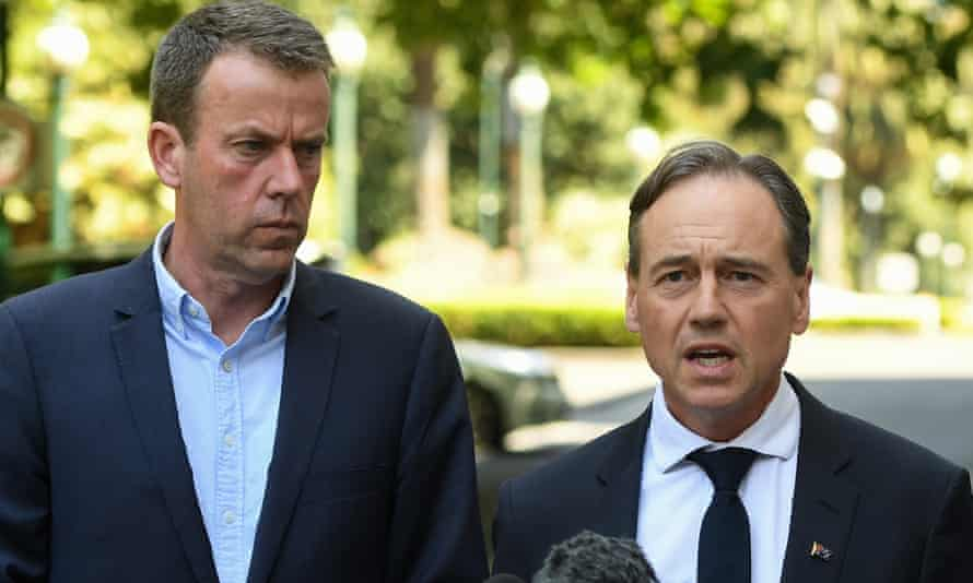 The federal education minister, Dan Tehan, with thee federal health minister, Greg Hunt