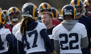 Los Angeles Rams head coach Sean McVay talks to his players during the team's final practice session before Super Bowl LIII