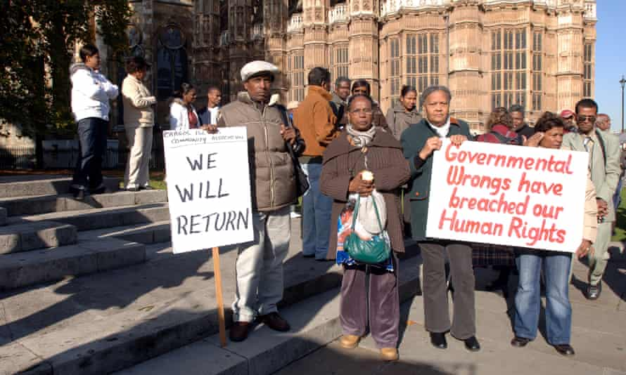 Chagos islanders protesting in 2008 after the judgment made in the Lords refusing their request to return home.
