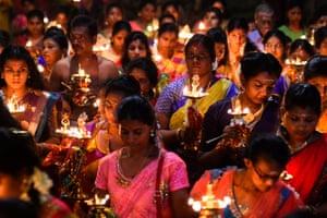 Prayers at a Hindu temple in Colombo, Sri Lanka