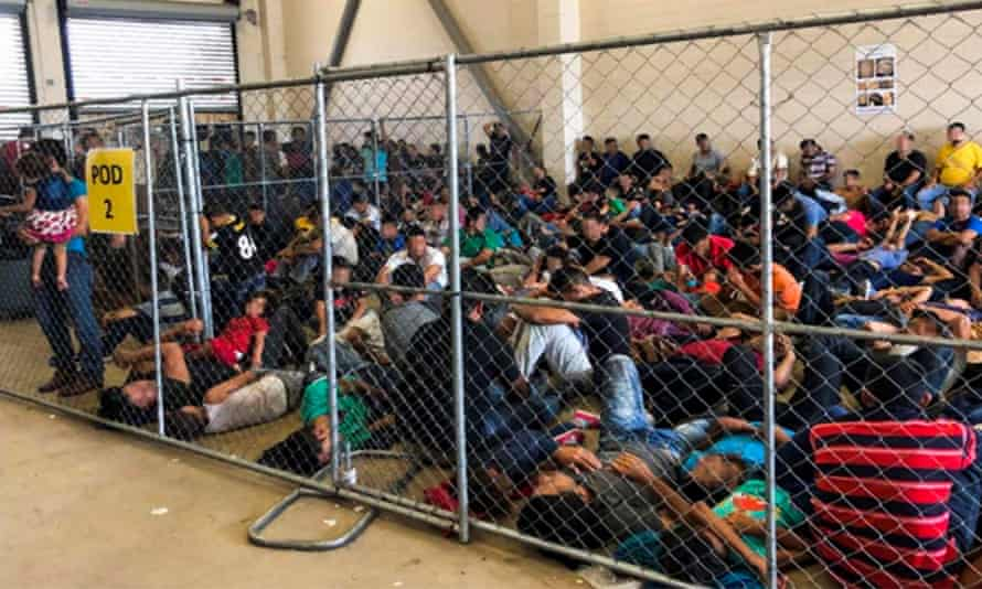 Overcrowded conditions at the US Border Patrol's McAllen holding station in McAllen, Texas, USA, 10 June 2019.