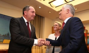 Prime minister Malcolm Turnbull and  Nationals leader Barnaby Joyce and his deputy, Fiona Nash