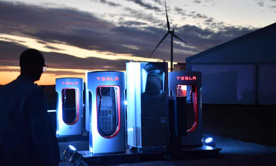 A Tesla car charging station.