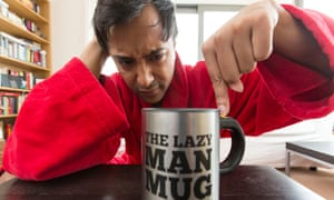 Rhik Samadder with a Lazy Man Mug