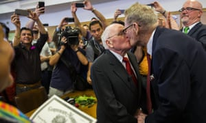 After 54 years as a couple, George Harris, 82, and Jack Evans, 85, are married by Judge Denise Garcia in Dallas, Texas, in 2015. Same-sex marriage is still prohibited in the Texas penal code.