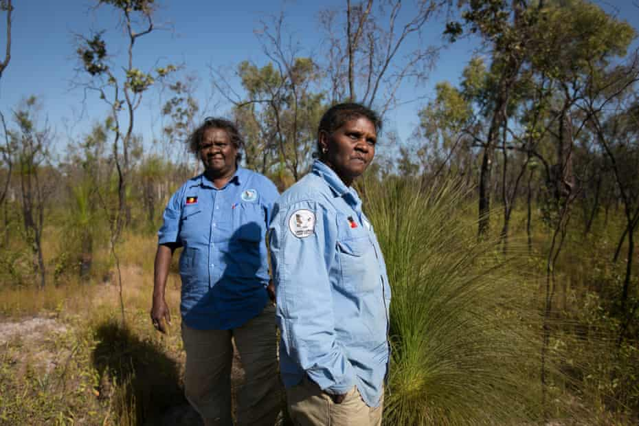Karen Liddy (L) and Elaine Liddy (R), Indigenous rangers in the Lama Lama national park in far-north Queensland.