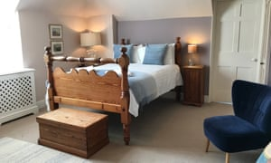 The Blue Room bedroom at the Cors Country House, Laugharne, Wales