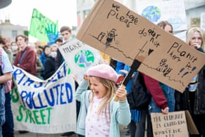A young protester during the YouthStrike4Climate student march in Brighton