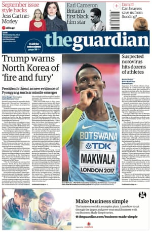 Guardian front page, 9 August 2017