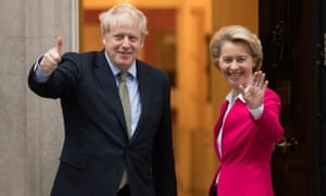Boris Johnson with Ursula von der Leyen, president of the European commission, at Downing Street on 8 January.
