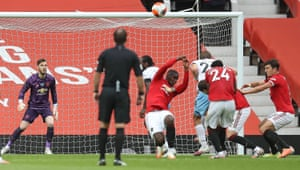 Paul Pogba handles to concede a penalty against West Ham.