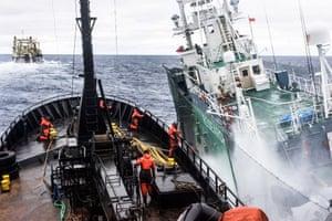 Japanese harpoon ship, the Yushin Maru 3 (right), rams the Sea Shepherd's anti-whaling ship the Bob Barker