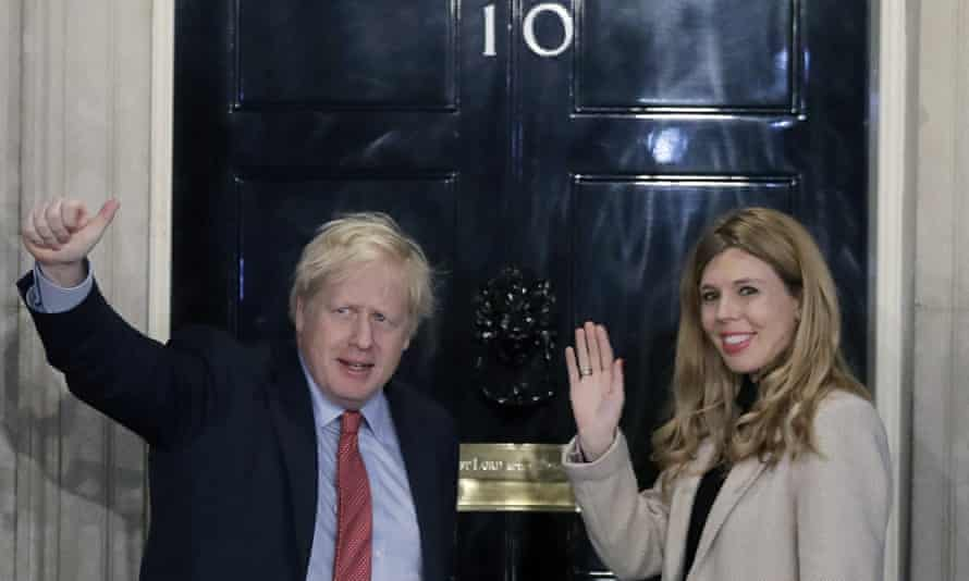 Johnson and Symonds return to No 10 after decisive election victory