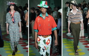 Clothes were classic Marni - eclectic and haphazard - while hats (recycled and stapled) were a highlight.