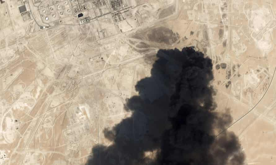Satellite image of  Aramco's Abqaiq oil processing facility in Buqyaq, Saudi Arabia after a missile and drone strike on the kingdom's oil industry.