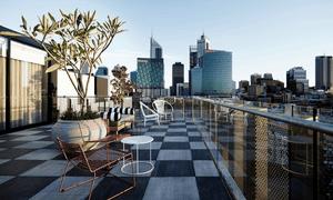 Roof terrace at the Alex Hotel, Perth, Western Australia.