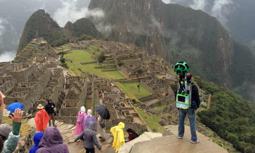 Google Trekker at Machu Picchu. In late 2015, Google Street View mapped the site so it can be viewed online.