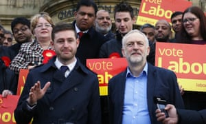 Jeremy Corbyn, right, stands with newly elected member of parliament for Oldham West and Royton, Jim McMahon outside Chadderton town hall.
