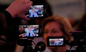 Elizabeth Warren answers questions in Portsmouth, New Hampshire, on Monday.