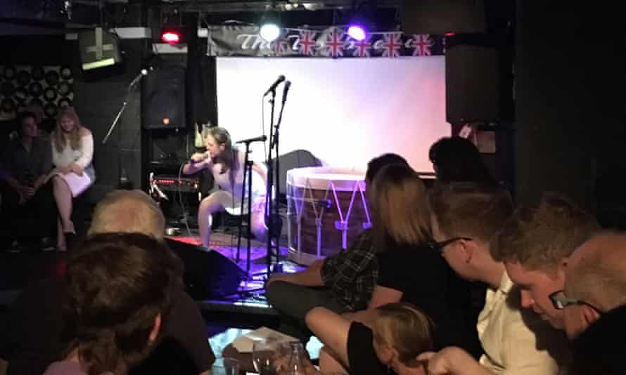 Ain't no party like a Brexit party ... musician Meg Lee Chin on stage.