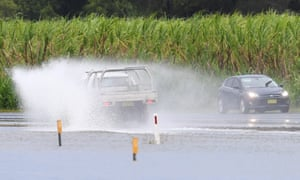 A flooded road at Tumbulgum, NSW.