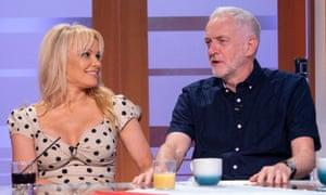 Pamela Anderson appears on television Jeremy Corbyn in June.