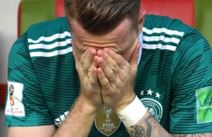 Marco Reus cannot watch as Germany are beaten 2-0 by South Korea at the World Cup.