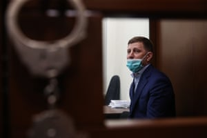 Governor Sergei Furgal, suspected of planning murders attends a detention hearing at the Basmanny District Court