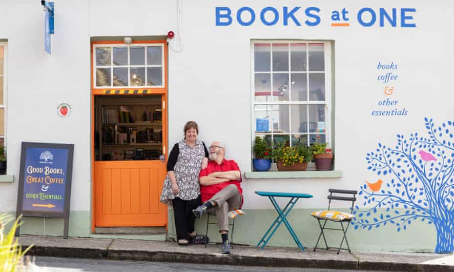 Mary Ruddy and Vincent Murphy photographed for the Observer outside their bookshop by Patrick Bolger.