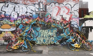An artwork in Fitzroy, Melbourne built from abandoned oBike scheme bikes.
