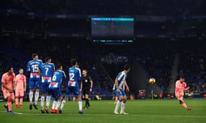 Barcelona's Lionel Messi curls in his second stunning free-kick of the night to make it 4-0 to Barcelona.