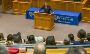 US attorney general William Barr speaks to Notre Dame Law School students and faculty on 11 October.