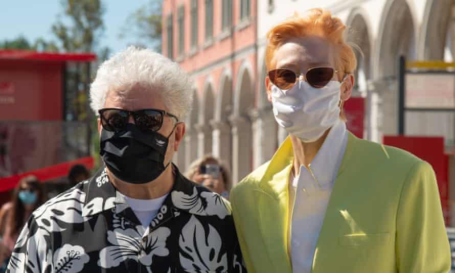 Almodóvar with Tilda Swinton in Venice this week.