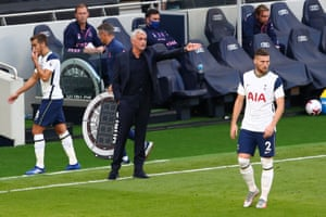 Jose Mourinho, manager of Tottenham Hotspur, gives his team instructions.