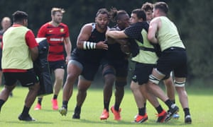 Saracens in training this week before their quarter-final against Leinster.