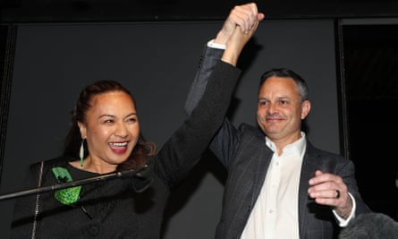 Green party co-leaders Marama Davidson James Shaw greet supporters at an election-night function.