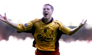 Michael Owen celebrates after giving Liverpool a 2-1 lead against Arsenal in the 2001 FA Cup final