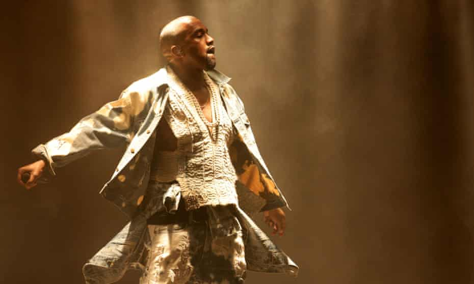 Kanye West performing on The Pyramid Stage at Glastonbury, 2015.