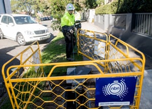 Contractors working on the rollout of the national broadband network in Sydney.
