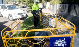 Contractors work to install the National Broadband Network.