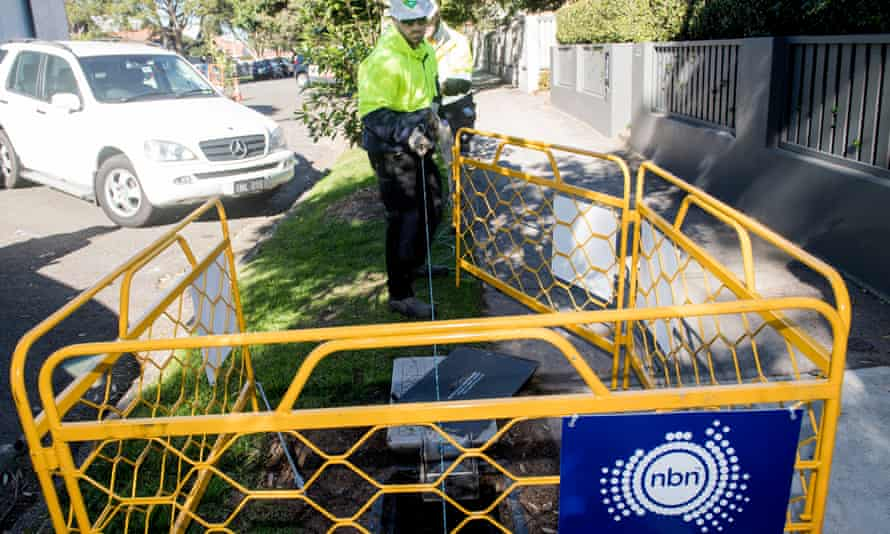 File photo of contractors working on the rollout of the NBN network in 2017